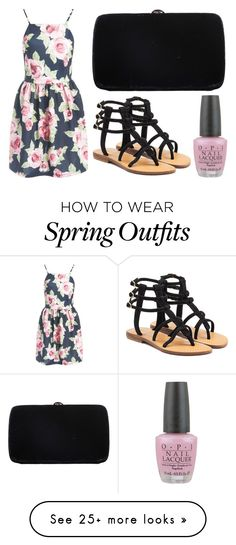"""Black and Pink Outfit"" by lexi899 on Polyvore featuring Sans Souci, Mystique, OPI, Sergio Rossi, Pink, black and BlackAndPink"