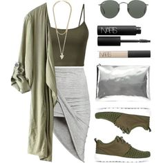 A fashion look from September 2015 featuring H&M skirts, NIKE sneakers and AB A Brand Apart clutches. Browse and shop related looks.
