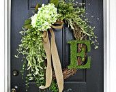 """The Long Oval """"Louisa"""" Wreath :) Intricate Designed Summer Wreath in Green, French Country Wreath, With Moss, Burlap and Hydrangeas"""