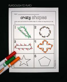 Write each word around a crazy shape!