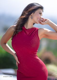 Denise Milani - Red Dress in the Spring