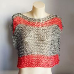 Knit dolman grey coral summer vest string tee grey and orange cotton... ($130) ❤ liked on Polyvore