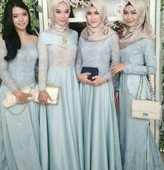 modest bridesmaids outfit ideas - Here is a roundup of 23 unique modest bridesmaid dresses ideas that can be worn well beyond the after-party. Kebaya Muslim, Kebaya Hijab, Muslim Dress, Dress Brukat, Hijab Dress Party, Lace Dress, Model Dress Kebaya, Muslimah Wedding, Moslem Fashion