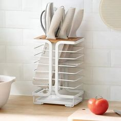 Ten Knife Holders You Can Use To Improve Your Kitchen Storage Magnetic Knife Blocks, Magnetic Knife Holder, Knife Storage, Storage Shelves, Storage Ideas, Shelf, Kitchen Utensil Storage, Knife Stand, Knife Handles