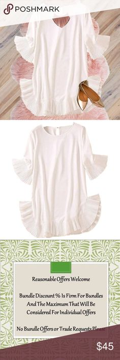 """White Pleated & Ruffled Bell Accent Dress Dressy, cotton / poly, unique pleated ruffle bell sleeves & hem with side slits, loose fit, scoop neck, mini dress.    New. Size is 3XL. Approx Plus Size 18. Please Refer To Listed Measurements.  Measurements  Bust: 52""""  Length: 33"""" Shoulder: 17"""" Sleeve: 15"""" Dresses Asymmetrical"""