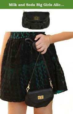 """Milk and Soda Big Girls Alice Mini Bag, Black. A lovely clutch for that special little girl in your life. Made of soft, textured leather with a toggle closure, this purse can be used without the removable strap. On the inside is written, """"Wherever you go I will go with you."""" The strap is long enough to be worn cross-body. It's so cute the adults will want to borrow it! This black color is so versatile. 7 1/2"""" wide x 5"""" high x 3/4"""" depth. Expands to about 2"""" depth. Strap measures 49 1/2.""""..."""