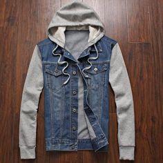 #BestPrice #Fashion Denim Jacket men hooded sportswear Outdoors Casual fashion Jeans Jackets Hoodies Cowboy Mens Jacket and Coat Plus Size…