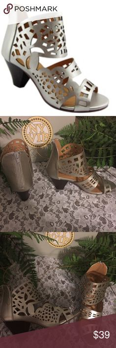"NY VIP 819 Women's Fashion Silver Sandals. Size 7 NY VIP  819 Silver Sandals. Size 7. Laser etching adds an eye-catching touch to these 2.5"" heeled sandals, which pair easily with styles ranging from casual shorts to maxi dresses. 100% synthetic faux leather sandals. Back zipper. Fits true to size. Extra set of heel protectors included. New in box. I took original packing off to take photographs. NY VIP 819 Shoes Sandals"