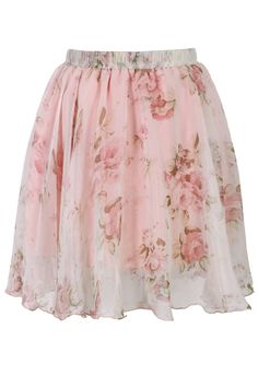 Pink Floral Print Chiffon Skirt - Skirt - Bottoms - Retro, Indie and Unique Fashion