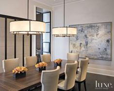 White Fabric Drum Pendant - Parisian style dining room with matching Paris Chandeliers from HOLLY HUNT