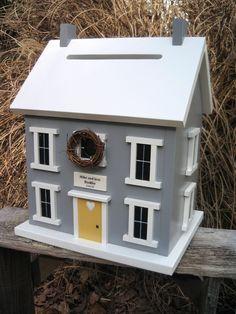 Cute idea!  Card Box Wedding Card Holder Birdhouse Gray White and Yellow. $149.00, via Etsy.