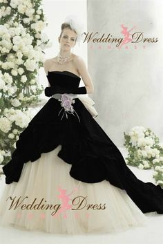 Wedding Dress Fantasy - Black and White Wedding Gown Available in Every Color, $845.00 (http://www.weddingdressfantasy.com/black-and-white-wedding-gown-available-in-every-color/)