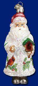 Old World Christmas Glistening Birdhouse Santa Ornament