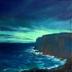 """The Edge of the Deep Green Sea II, ©John O'Grady - A 12"""" x 12"""" x 1.75"""" oil on deep edged canvas. The West Coast of Ireland at sunrise. The rich blue and the cool milky green colours work to give an optimistic feel to this painting."""