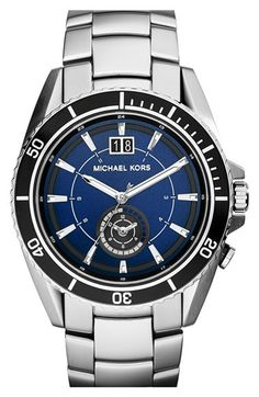 MICHAEL Michael Kors Michael Kors 'Jetmaster' Dual Time Bracelet Watch, 45mm available at #Nordstrom