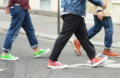 street style- lovin' these neon sneakers!