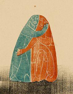 "HAP Grieshaber: ""Paar"", Farbholzschnitt, 1937"