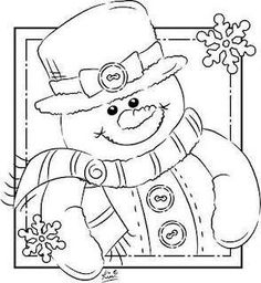 print coloring image Snowman Free printable and Printable