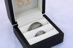 Get matching wedding bands for your special day! Two Gold Inlaid Damascus rings, in a light or dark etch with 18ct white, yellow or rose gold inlays (they both can be different just let us know what you would like each to be like). These pictures show a variety of custom hand made