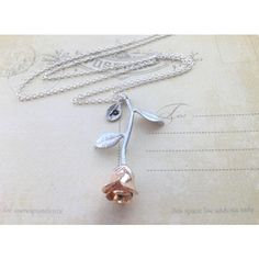 Rose Gold Rose Necklace,Beauty and the Beast, Flower Jewelry, Rose... ($29) ❤ liked on Polyvore featuring jewelry, necklaces, gold flower necklace, silver charms, gold charms, silver pendant necklace and pendant necklaces