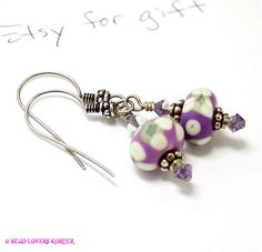 Violet Purple Glass Bead Earrings by beadloverskorner on Etsy, $32.00
