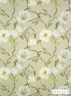Beautiful designer fabric that is perfect for your drapery from the 'Chinoise' design style range by Pegasus Floral Curtains, Floral Fabric, Linen Fabric, Floral Printables, Green Bedding, Queen Bedding Sets, Curtain Fabric, Outdoor Fabric, Pegasus