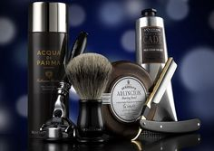 Shaving and grooming:  Left to right: Acqua di Parma Collezione Barbiere shaving gel, Murdock Chatsworth razor, Murdock shaving brush, DR Harris & Co Arlington shaving bowl, L'Occitane Cade shaving cream and Dovo of Solingen buffalo-horn cut-throat razor