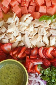 This Strawberry Watermelon Chicken Salad is perfect for any brunch, lunch, or dinner party salad!