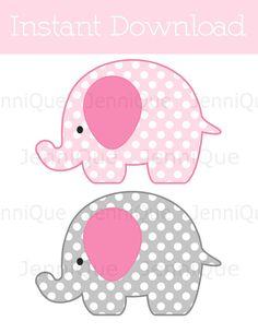 Decoración del elefante imprimible lunares por JenniQuePrintShop