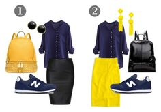 """Pencil skirt & yellow"" by monika-tobias ❤ liked on Polyvore featuring New Balance, Michael Kors, J.Crew and Karen Kane"