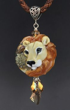 Leo the Lion original custom handmade lampwork Lion bead pendant SRA