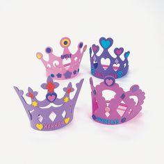 tiara and activity -    Fabulous Foam Princess Crowns - deco your own tiara  OrientalTrading.com   / coronas de foami para decorar  (actividad )