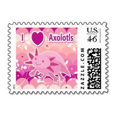 """I Love Axolotls"" Pink Axolotl Design Postage Stamps"