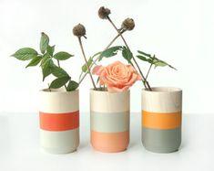 Items similar to Set of 3 Painted Wooden Vases Home Decor orange on Etsy Painted Plant Pots, Painted Flower Pots, Pots D'argile, Clay Pots, Ceramic Painting, Painting On Wood, Deco Orange, Objet Deco Design, Sycamore Wood
