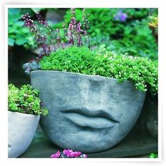 Add artistry into your garden by adding the Campania International Medium Faccia Cast Stone Planter . This cast stone planter has a detailed face design. Face Planters, Stone Planters, Outdoor Planters, Garden Planters, Outdoor Art, Outdoor Stone, Outdoor Living, Lawn And Garden, Garden Art