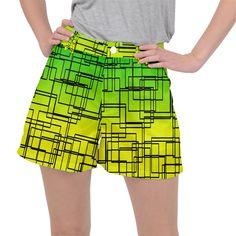 Geometrical lines pattern, asymmetric blocks theme, line art Ripstop Shorts Line Patterns, Line Art, Creative Design, Mini Skirts, Shorts, Womens Fashion, Fabric, Pants, Color