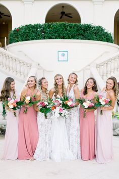 Mix and match pink and floral bridesmaid dresses for a beach wedding at The Ritz Carlton Sarasota | Shauna and Jordon Photography Floral Bridesmaid Dresses, Wedding Dresses, Beach, Pink, Photography, Fashion, Bride Dresses, Moda, Photograph