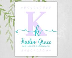 Personalized gift for new baby girl - monogram nursery items - wall art print - baby name art for nursery