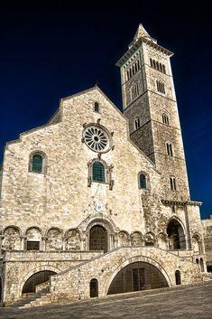 Cattedrale di Trani (o Duomo di Trani o Cattedrale di San Nicola Pellegrino) - architettura romanica pugliese. È in pietra tranese, di un colore roseo chiarissimo, quasi bianco. La chiesa si distingue per il transetto e per l'uso dell'arco a sesto acuto nel passaggio situato sotto il campanile.