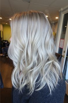 Platinum white blonde balayage beach waves