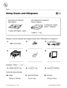 Using Grams and Kilograms Worksheet | Lesson Planet