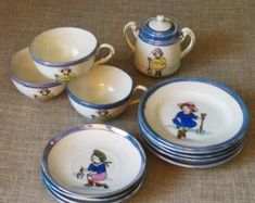 Antique Ceramic Toy Doll Dishes, Lusterware, Tea Set, Dish, Japan, Childs Playset, Tes Service, Hand Painted, Children, Portrait