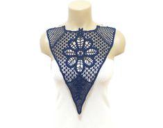 Crochet Necklace Crochet Collar Dark Blue Bib by HAREMDESIGN, $44.00