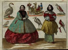 """""""Two richly dressed women; woman in horse-drawn sleigh with coachman"""" by Martin Engelbrecht, (1684-1756)"""
