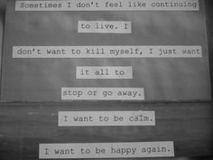 Sometimes I don't feel like continuing to live.  I don't want to kill myself, I just want it all to go away.  I want to be calm.  I want to be happy again.