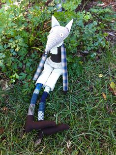 Ronan the fox. Wool and quilting scraps. Linen trousers. Knitted wool scarf. From woodland friends to make.