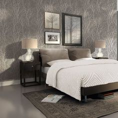 New wallpaper bedroom feature wall pattern bathroom 30 Ideas Tree Wallpaper Living Room, Wallpaper Design For Bedroom, Bedroom Wallpaper Accent Wall, Wall Wallpaper, Metallic Wallpaper, Trendy Wallpaper, Wallpaper Ideas, Grey Wallpaper Feature Wall, Grey Textured Wallpaper