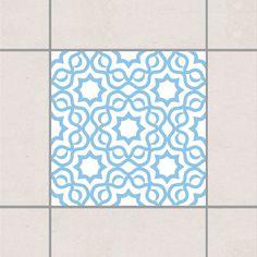 Fliesenaufkleber - Islamic White Light Blue 20x20 cm - Fliesensticker Set Blau
