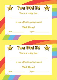 Free Preschool Certificate Templates New Potty Training Certificate Free Printables Free Printable Certificate Templates, Graduation Certificate Template, Certificate Of Achievement Template, Training Certificate, Certificate Design Template, Award Certificates, Free Printables, Templates Free, Kids Awards