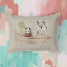 Panda Bear enjoys a weekend boat trip with a couple of cranes and a little frog friend. She's having a ball cruising around her natural habitat, snacking on bamboo leaves. Panda Bear Pal can be removed from the pillow pocket.